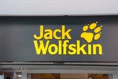 Logo del deposito di Jack Wolfskin fotografie stock libere da diritti