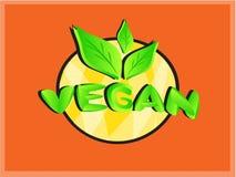 Logo del distintivo del testo del vegano con le foglie verdi Immagini Stock Libere da Diritti