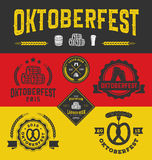 Logo del distintivo di Oktoberfest ed insieme di etichette Fotografia Stock