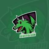 Logo del drago, progettazione di logo di gioco illustrazione vettoriale