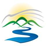 Logo del fiume della montagna Fotografia Stock