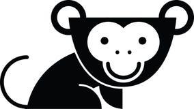 Logo del fumetto della scimmia della siluetta illustrazione di stock