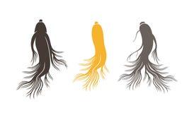 Logo del ginseng Ginseng isolato su fondo bianco royalty illustrazione gratis