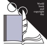 Logo del giorno di libro e di copyright di mondo illustrazione di stock