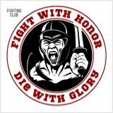 Logo del gladiatore con la lancia e lo schermo Immagini Stock Libere da Diritti