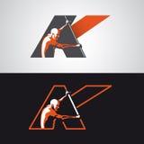 Logo del kajak con la grande lettera di K Fotografia Stock Libera da Diritti