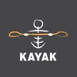 Logo del kajak creato nello stile tribale Immagine Stock