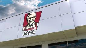 Logo del Kentucky Fried Chicken KFC sulla facciata moderna della costruzione Rappresentazione editoriale 3D Fotografia Stock