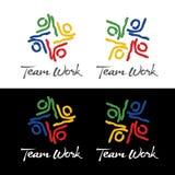 Logo del lavoro di gruppo di schizzo illustrazione di stock