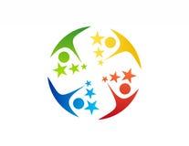 Logo del lavoro di gruppo, istruzione, simbolo dell'icona della gente di celebrazione Fotografie Stock