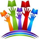Logo del libro delle mani Fotografia Stock