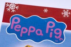 Logo del maiale di Peppa in un catalogo fotografie stock libere da diritti