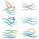 Logo del mare dell'acqua Immagini Stock
