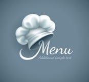 Logo del menu con il cappuccio del cuoco unico Immagine Stock