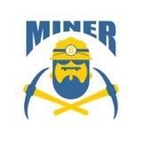 Logo del minatore Valute cripto di Bitcoin di logo di Mener Lavoratore con il pi Fotografie Stock Libere da Diritti