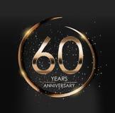 Logo del modello 60 anni di anniversario di illustrazione di vettore Fotografie Stock Libere da Diritti