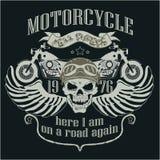 Logo del modello di progettazione del motociclo Cavaliere del cranio - Fotografia Stock Libera da Diritti