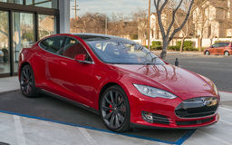 Logo del modello di Tesla Fotografia Stock