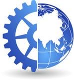 Logo del mondo dell'ingranaggio Fotografia Stock