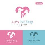 Logo del negozio di animali di amore/affare Logo Idea di progettazione vettore dell'icona Fotografia Stock Libera da Diritti
