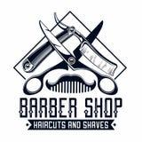 Logo del negozio di barbiere illustrazione vettoriale