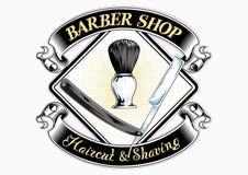 Logo del negozio di barbiere con iscrizione fotografie stock