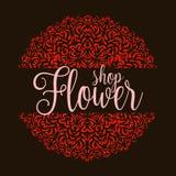Logo del negozio di fiori con la mandala rossa Fotografie Stock Libere da Diritti