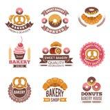 Logo del negozio del forno Bigné dell'alimento fresco dei biscotti delle guarnizioni di gomma piuma ed immagini del pane per prog royalty illustrazione gratis