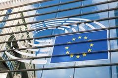 Logo del Parlamento Europeo a Bruxelles Fotografie Stock Libere da Diritti