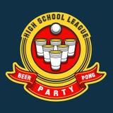 Logo del partito del pong della birra Immagini Stock Libere da Diritti