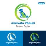 Logo del pianeta/affare animali Logo Idea di progettazione vettore dell'icona Immagine Stock Libera da Diritti