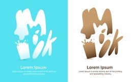 Logo del prodotto del riso del latte con testo Immagini Stock