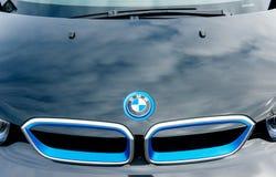 Logo del radiatore della parte anteriore dell'automobile elettrica di BMW Immagine Stock Libera da Diritti