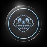 Logo - delfini con il sole ed il marino sui precedenti della conchiglia Fotografie Stock Libere da Diritti