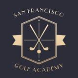 Logo dell'accademia di golf, emblema con i club illustrazione vettoriale