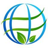 Logo dell'albero del globo su bianco Immagine Stock