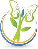 Logo dell'albero della farfalla Fotografie Stock Libere da Diritti