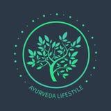 Logo dell'albero di TVector Simbolo di Ayurvedic Illustrazione Vettoriale