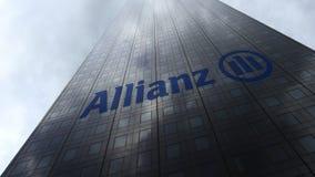 Logo dell'Allianz sulle nuvole di riflessione di una facciata del grattacielo Rappresentazione editoriale 3D Immagini Stock Libere da Diritti