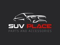 Logo dell'automobile di Suv su fondo scuro Immagine Stock Libera da Diritti
