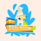 Logo dell'azienda agricola di Gather Honey From Bee Hive Apiary Eco dell'agricoltore Fotografie Stock