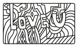 Logo dell'estratto ti amo Illustrazione in bianco e nero di vettore Immagine Stock Libera da Diritti