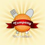 Logo dell'hamburger con il nastro sui precedenti leggeri illustrazione di stock