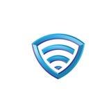 Logo dell'icona di Wi-Fi 3d Fotografie Stock Libere da Diritti