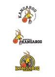 Logo dell'illustrazione di pallacanestro del canguro fotografie stock