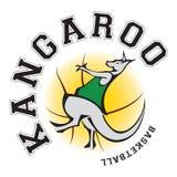 Logo 3 dell'illustrazione di pallacanestro del canguro fotografie stock