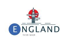 Logo dell'Inghilterra scena di Big Ben Immagini Stock