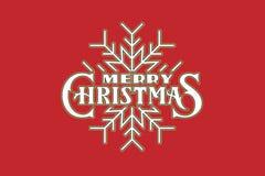Logo dell'iscrizione della mano di Buon Natale su fondo rosso Immagine Stock Libera da Diritti