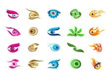 Logo dell'occhio, progettazione di simbolo di concetto di visione Immagine Stock