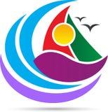 Logo dell'onda e della barca del mare illustrazione vettoriale